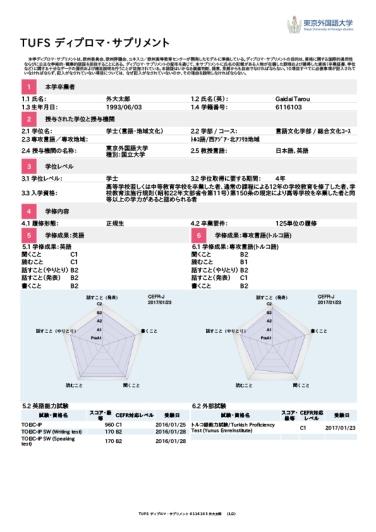 TUFS ディプロマ・サプリメント 6116103 外大太郎